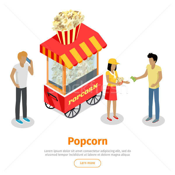 Popcorn Conceptual Isometric Vector Web Banner Stock photo © robuart