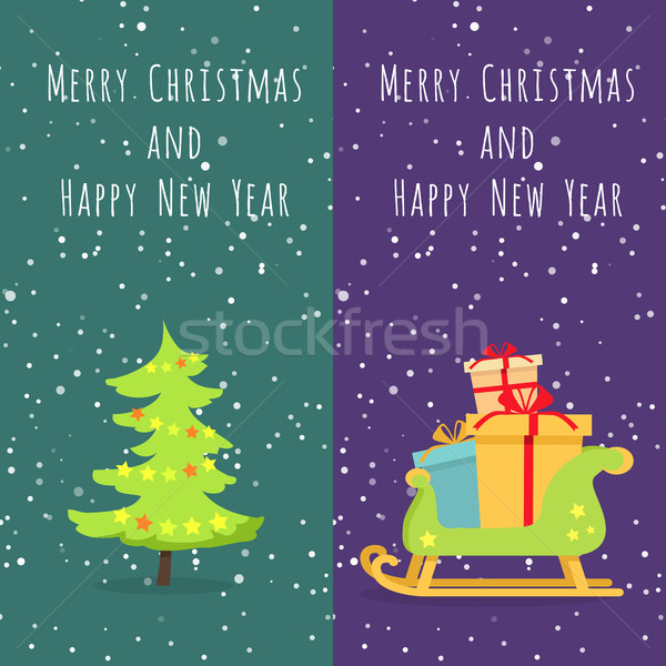 Merry Christmas and Happy New Year. Set of Icons Stock photo © robuart