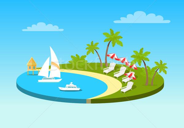тропический пляж Солнечный океана берега круга морем Сток-фото © robuart