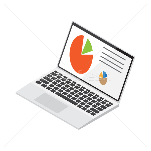 Laptop Displays Colored Diagrams Illustration Stock photo © robuart