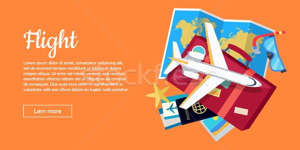 Vlucht stijl vector web banner reizen Stockfoto © robuart