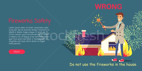 Fajerwerków bezpieczeństwa pirotechnika odkryty wektora cartoon Zdjęcia stock © robuart