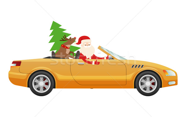 Santa Claus Drive on Cute Luxury Car with Reindeer Stock photo © robuart