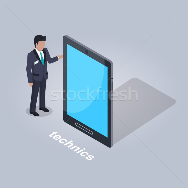 Technics Illustration. Businessman and Tablet Stock photo © robuart
