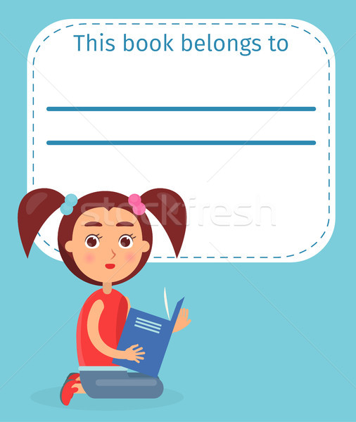 Cute Schoolgirl on Ex-libris This Book Belong to Stock photo © robuart