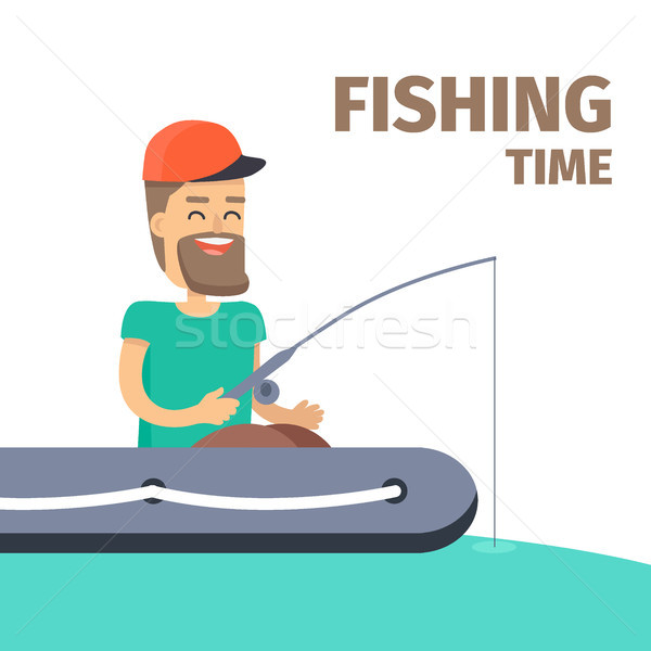 Fishing time. Fisherman Character Illustration Stock photo © robuart