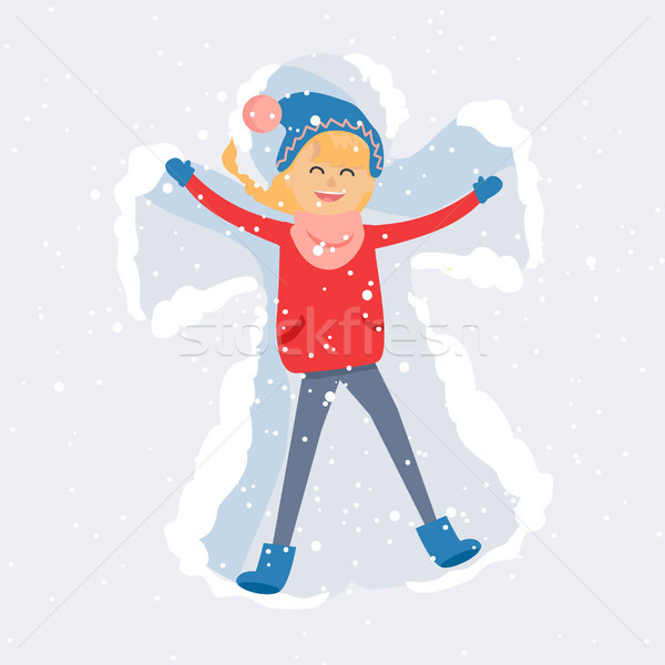 Happy Woman Making Snow Angel Flat Vector Stock photo © robuart