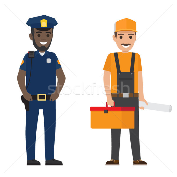 Set of Black Policeman and Whiskered Builder Flat Stock photo © robuart