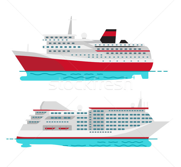 Spacious Luxury Cruise Liner and Big Red Steamer Stock photo © robuart