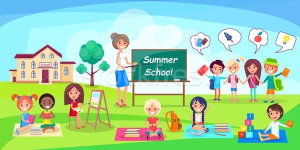 Yaz okul poster çocuklar öğretmen mutlu Stok fotoğraf © robuart
