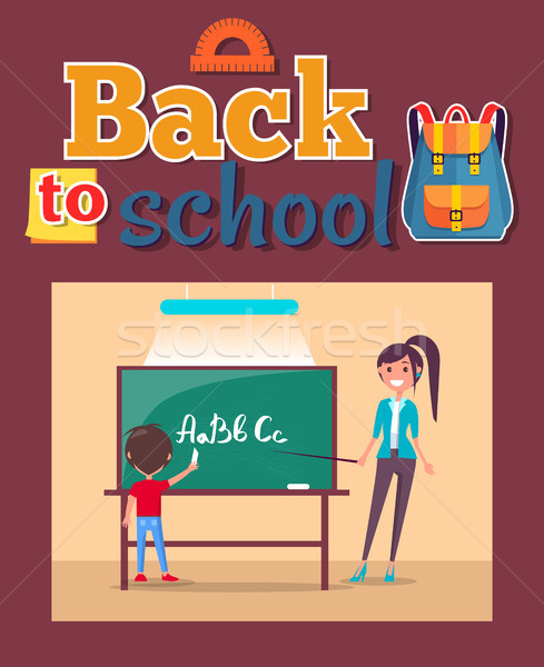 Back to School Poster Inscription with Stationary Stock photo © robuart