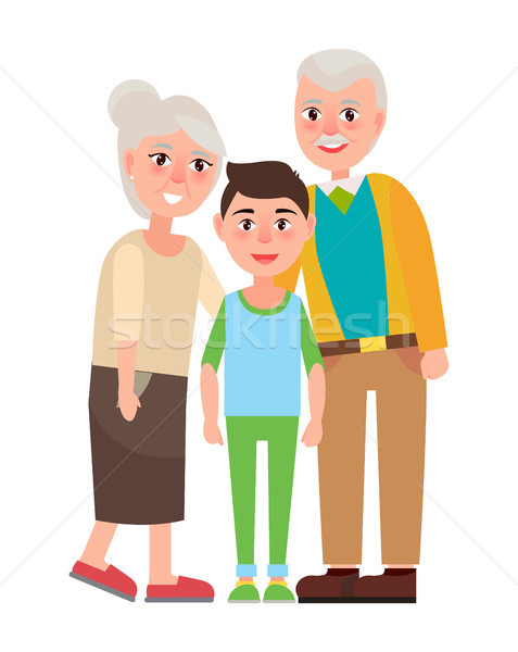 Grandparents with Grandson Isolated Characters Stock photo © robuart