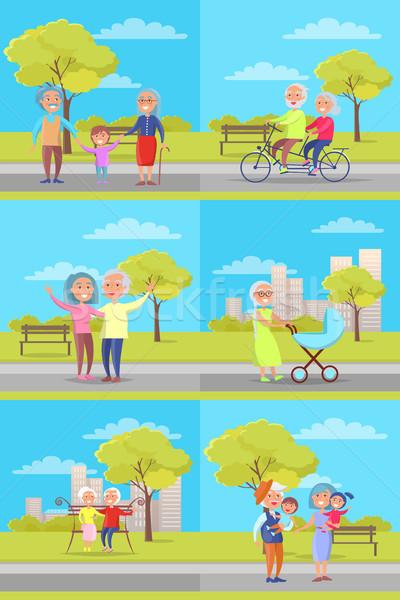 Conjunto vetor pôsteres avós crianças diariamente Foto stock © robuart