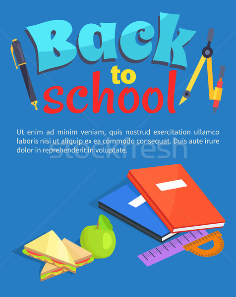 Back to School Poster Text, Stationery Equipment Stock photo © robuart