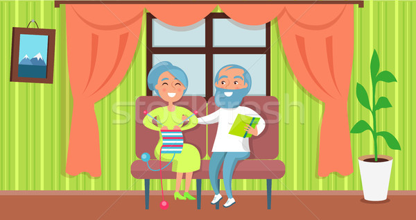 Happy Grandparents Day Senior Couple Sit Together Stock photo © robuart