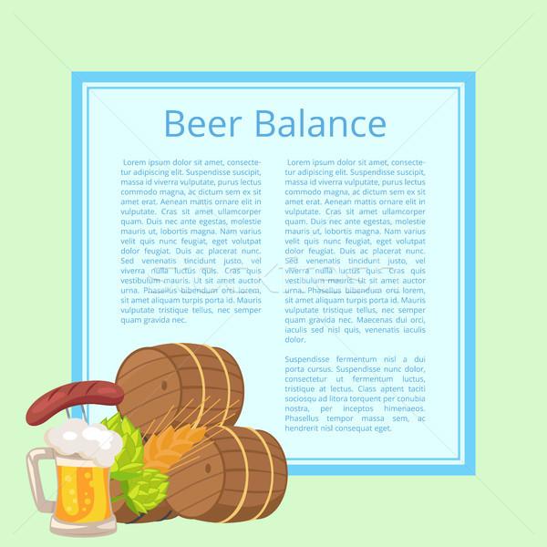 ビール バランス ポスター 水色 木製 泡立つ ストックフォト © robuart