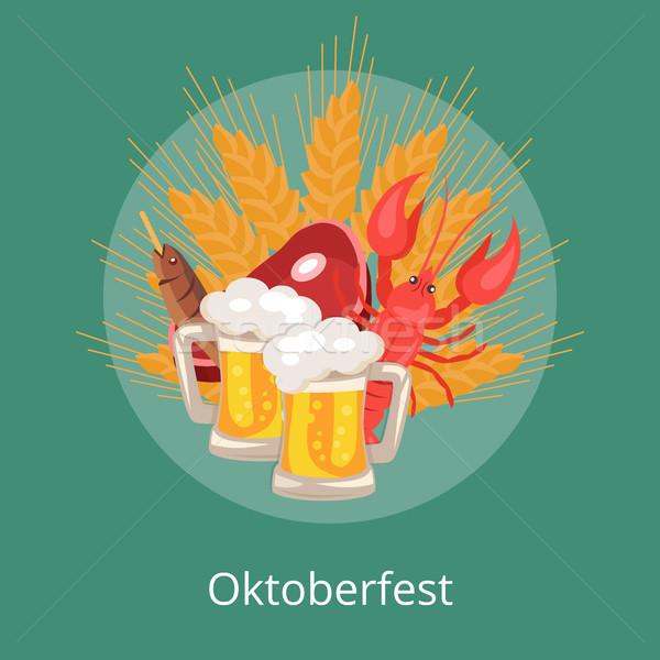 Oktoberfest alimentaire boissons conception de logo deux bière Photo stock © robuart