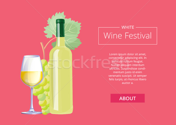 White Wine Festival Vector Illustration on Red Stock photo © robuart