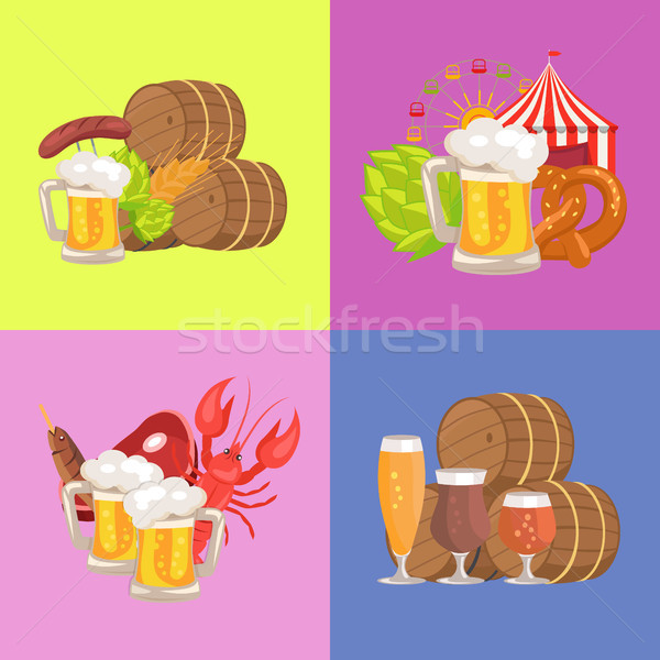Piwa symboliczny cztery zdjęcia różowy niebieski Zdjęcia stock © robuart