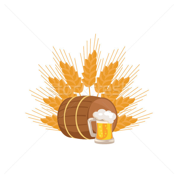 Wooden Barrel with Beverage and Mug of Beer Vector Stock photo © robuart
