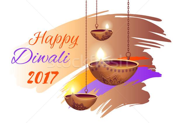 Stock photo: Happy Diwali 2017 Poster on Vector Illustration