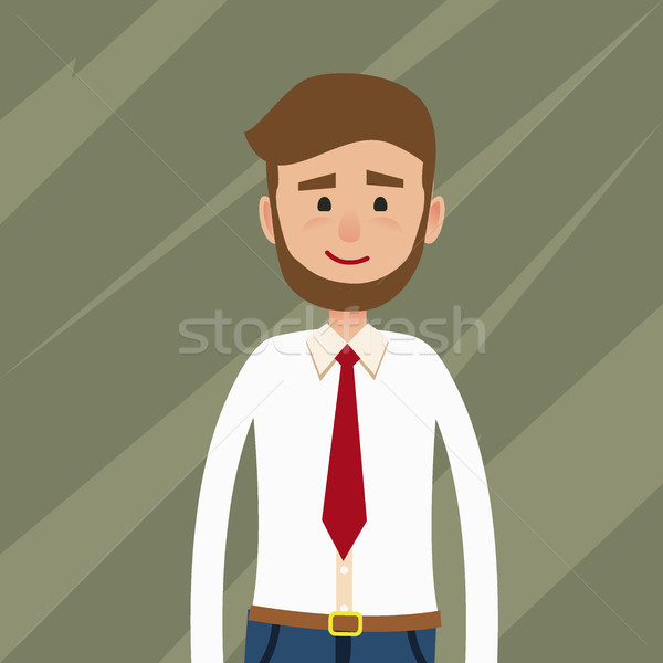 Bearded Young Man Flat Vector Character Stock photo © robuart