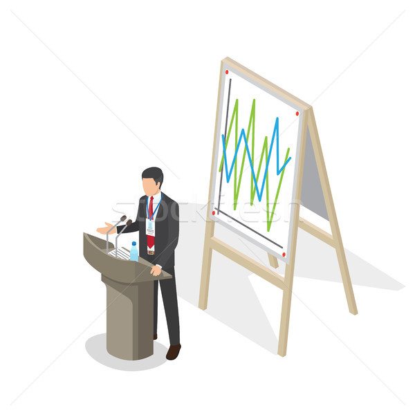 Businessman Presentation at Podium with Schedule Stock photo © robuart
