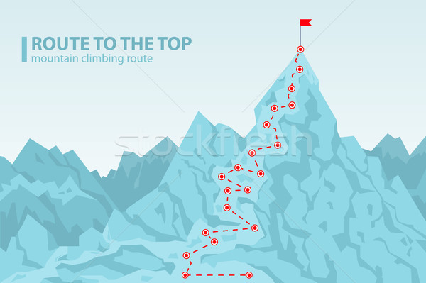 Stock photo: Route to the top mounting climbing vector illustration