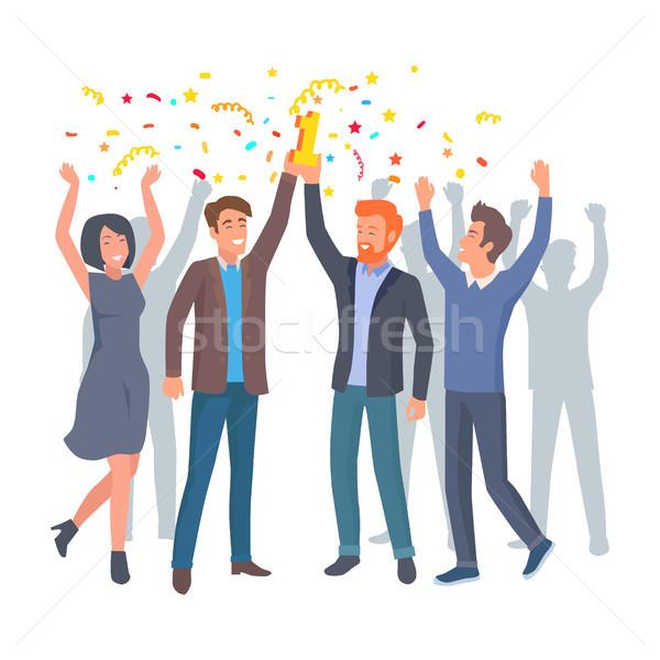 Foto stock: Equipe · colegas · celebrar · ganhar · startup · vetor