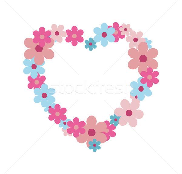 Vad virágok forma szív pasztell színek gyengéd Stock fotó © robuart
