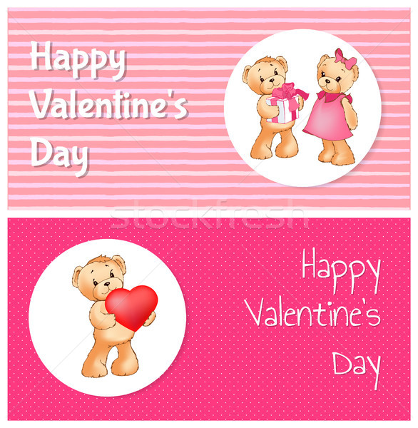 Happy Valentines Day Poster with Two Teddy Bears Stock photo © robuart
