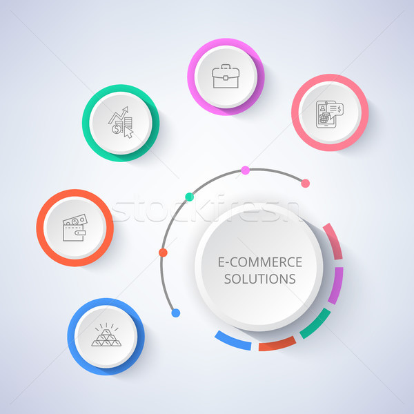Stock photo: E-Commerce Solutions Set of Icons Money in Wallet