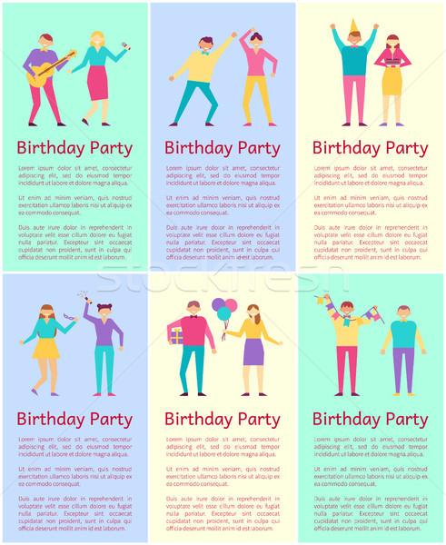 Születésnapi buli gyűjtemény emberek jó idő élvezet Stock fotó © robuart