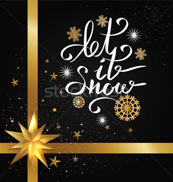 Sneeuw opschrift sneeuwvlok gouden sneeuwvlokken Stockfoto © robuart