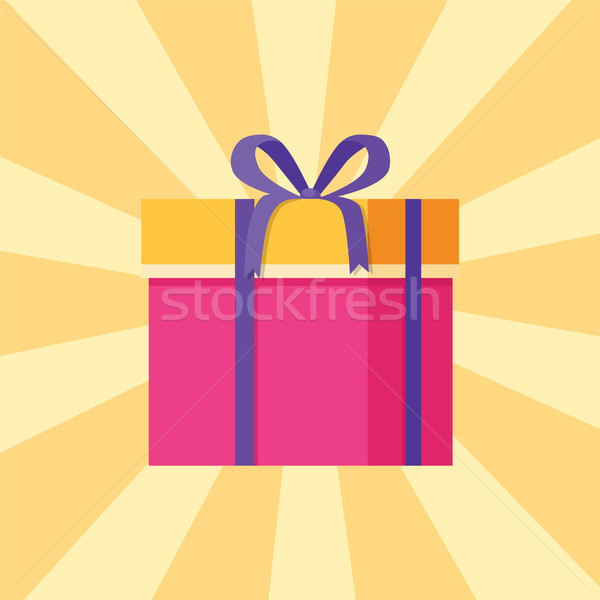 Parcel Icon in Decorative Pink Wrapping Paper Bow Stock photo © robuart