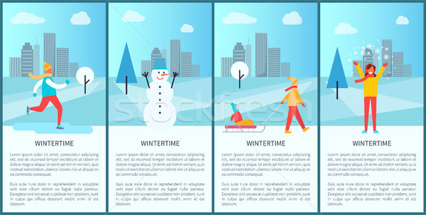 Wintertime City Set of Posters Vector Illustration Stock photo © robuart