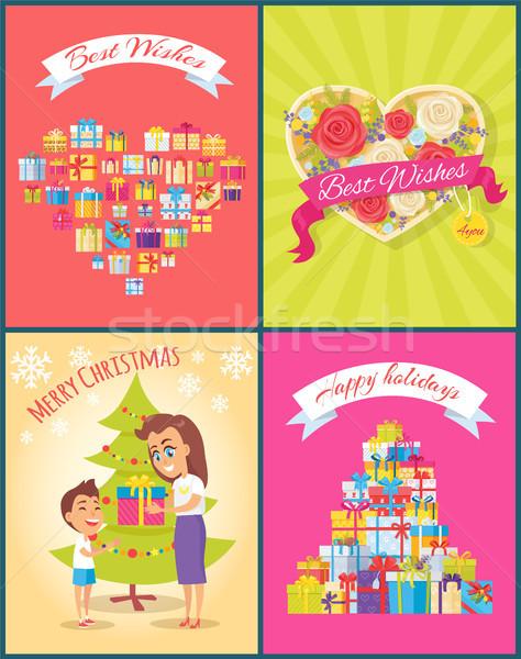 Best Wishes Christmas Birthday Vector Illustration Stock photo © robuart