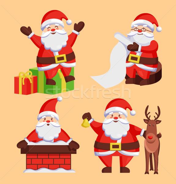 Santa Clauses Set icons Vector Snow Chimney Deer Stock photo © robuart