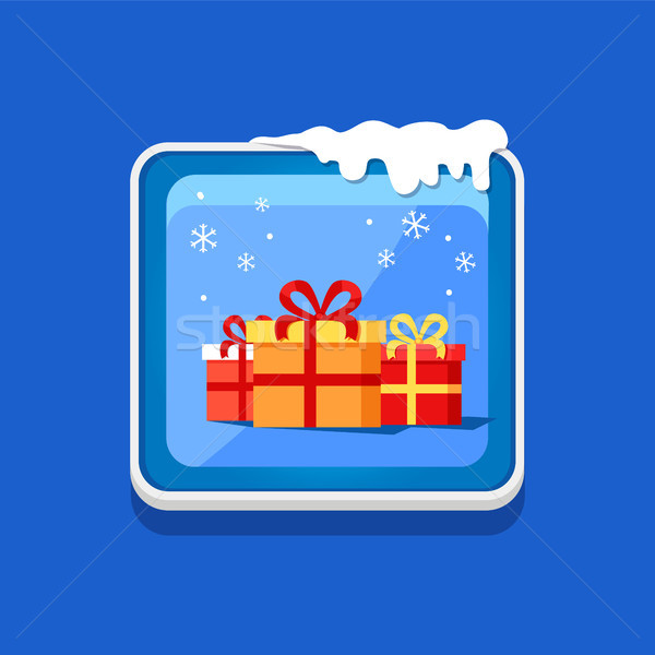 Festive Button with Presents Vector Illustration Stock photo © robuart