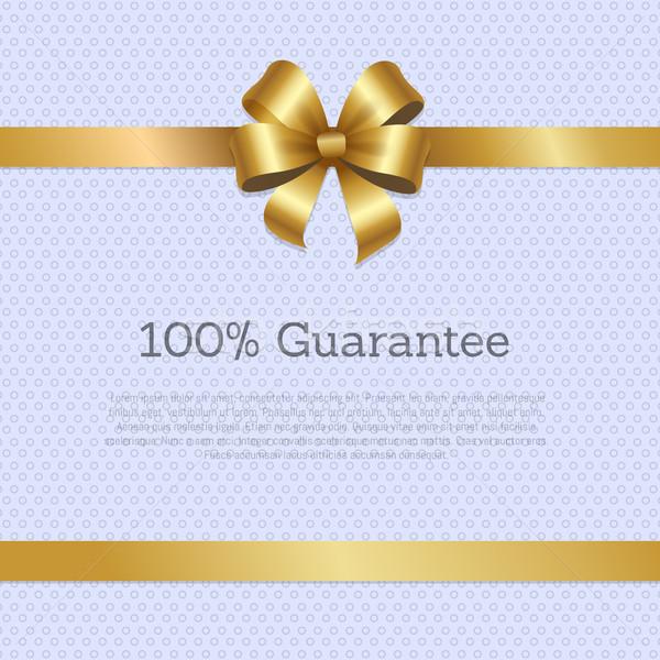 100 Guarantee Cover Design Golden Bow Poster Stock photo © robuart