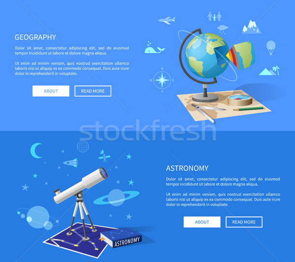 Geography and Astronomy Classes Informative Page Stock photo © robuart