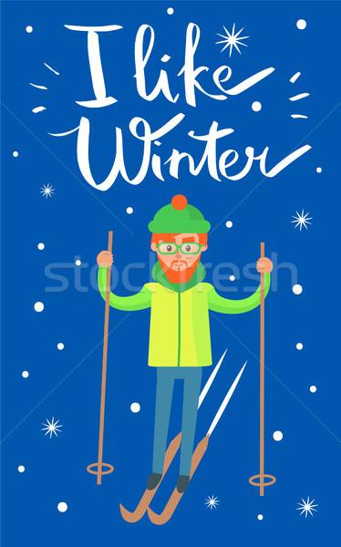 подобно зима лыжник плакат плакат человека Сток-фото © robuart