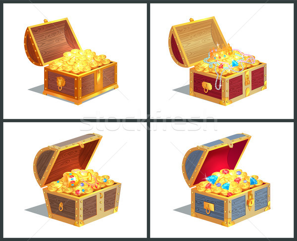 Treasure Box Poster Collection Vector Illustration Stock photo © robuart
