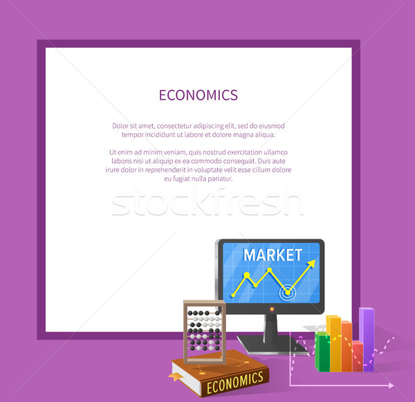 Market and Economic Cartoon Illustration with Text Stock photo © robuart
