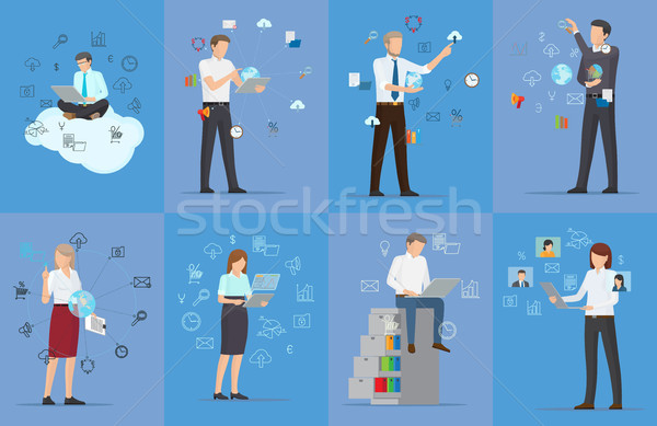 Eight Cards with Tech Icons Vector Illustration Stock photo © robuart