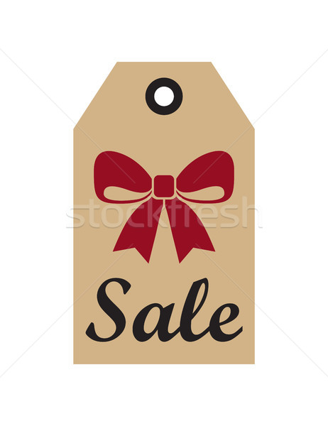 Sale Promo Label with Christmas Red Bow New Year Stock photo © robuart