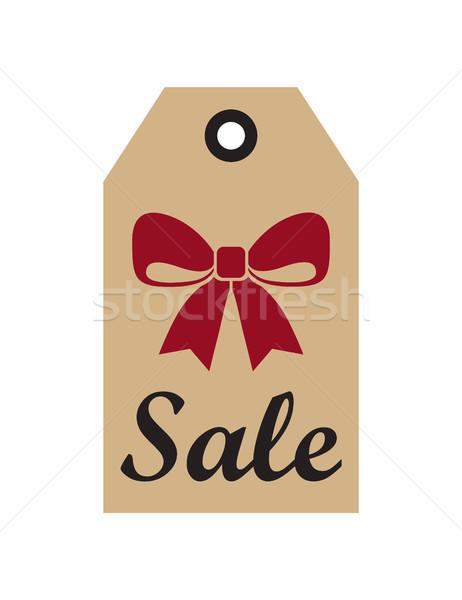 Venda promo etiqueta natal vermelho arco Foto stock © robuart