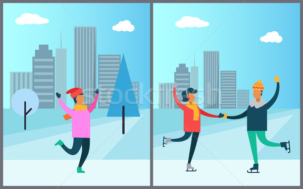 Couple Skating on Rink Man in Pink Sweater Red Hat Stock photo © robuart