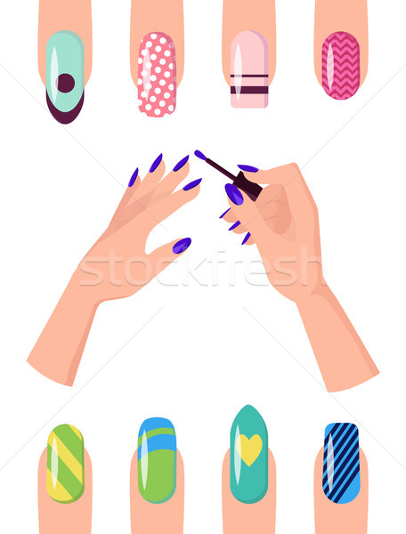 Manicure with Patterns on Nails of All Shapes Set Stock photo © robuart