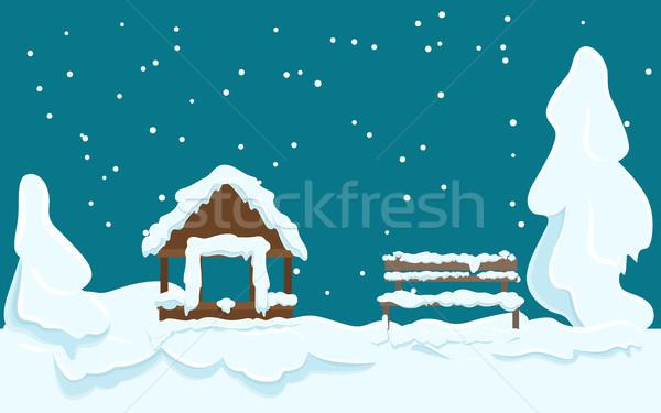 саду дома скамейке покрытый снега Сток-фото © robuart